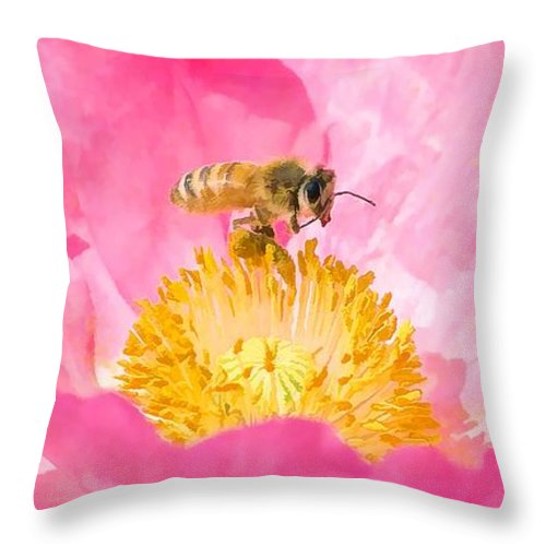 Flower Throw Pillow featuring the painting Honey Bee Collecting Pollen by Jeelan Clark