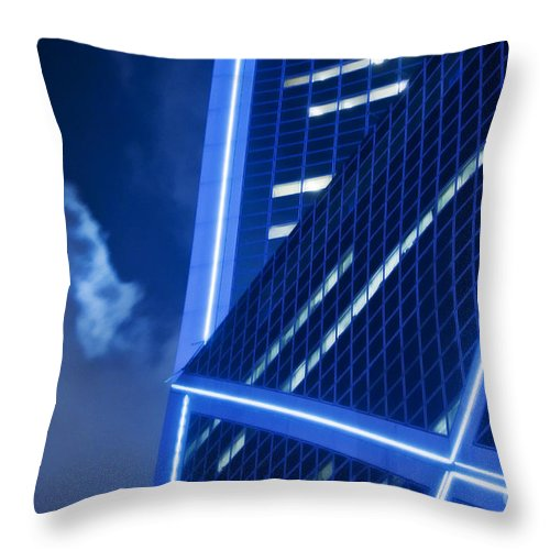 Architecture Throw Pillow featuring the photograph Hong Kong Moonlight by Ray Laskowitz - Printscapes