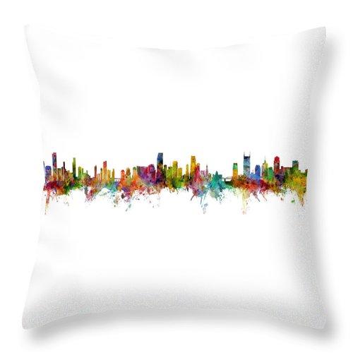 Nashville Throw Pillow featuring the digital art Honolulu, Miami And Nashville Skylines Mashup by Michael Tompsett