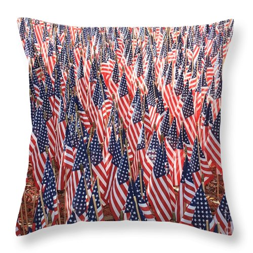 Veterans Memorial Throw Pillow featuring the photograph Honoring Those Who Have Sacrificied All by Carol Groenen