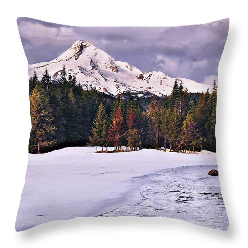 Mountain Throw Pillow featuring the photograph Hood On Ice by John Christopher
