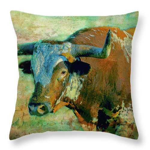 Texas Longhorns Throw Pillow featuring the digital art Hook 'em 1 by Colleen Taylor