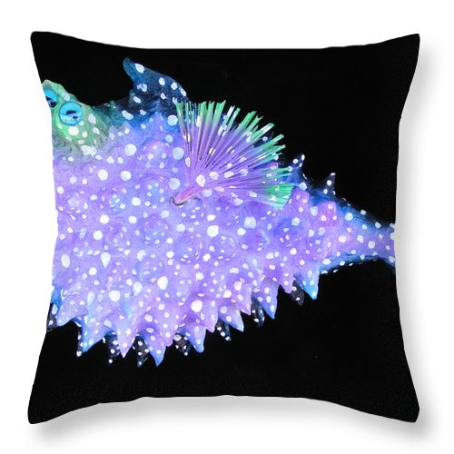 Fish Throw Pillow featuring the mixed media Hootie The Blow Fish by Dan Townsend