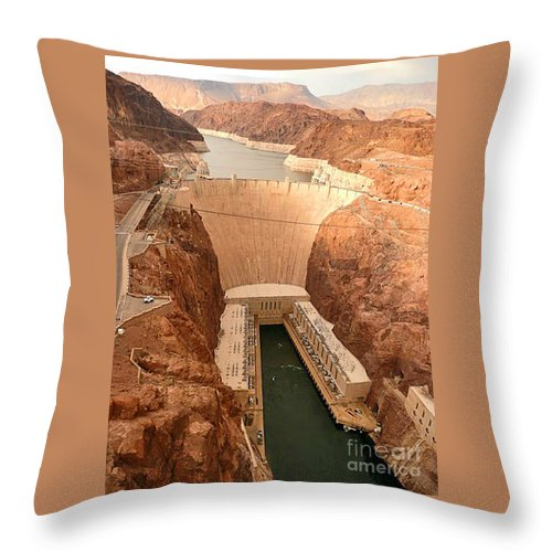 Hoover Dam Throw Pillow featuring the photograph Hoover Dam Scenic View by Angela L Walker