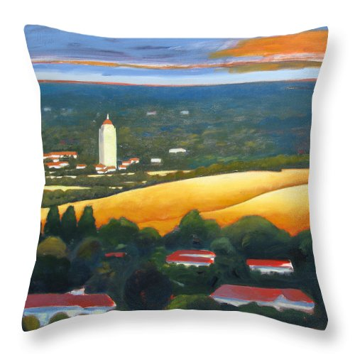 Stanford University Throw Pillow featuring the painting Hoover Tower From Hills by Gary Coleman
