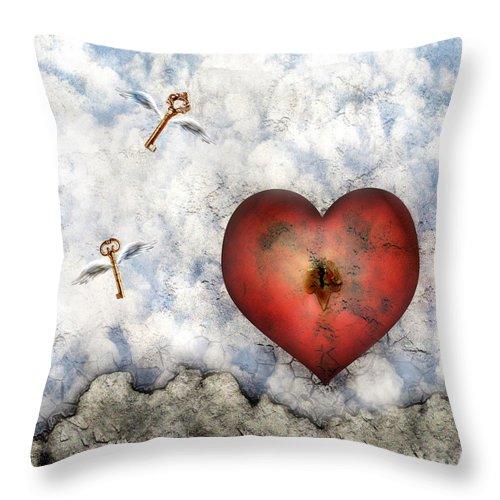 Heart Throw Pillow featuring the digital art Hope Floats by Jacky Gerritsen