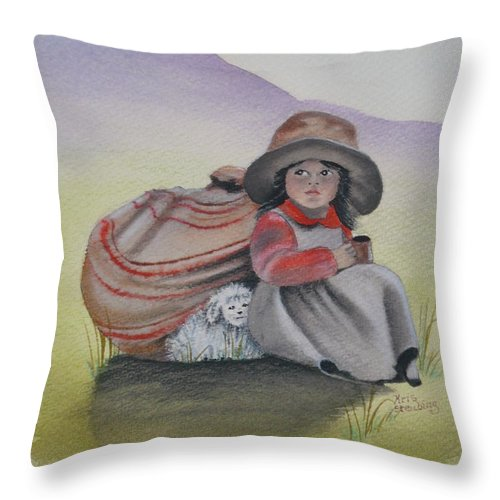 Children Throw Pillow featuring the painting Hope by Kris Crollard