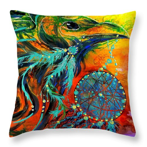 Mythical Throw Pillow featuring the painting Hope Rising by Francine Dufour Jones