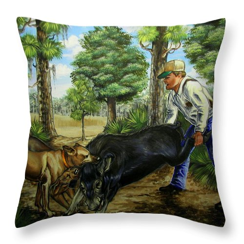 Hog Throw Pillow featuring the painting Horace's Hunt by Monica Turner