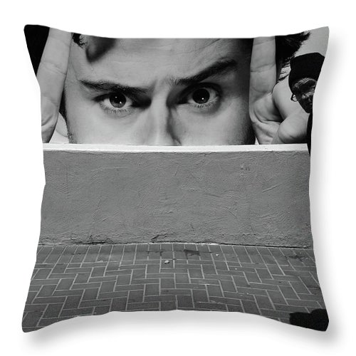 Street Photography Throw Pillow featuring the photograph Horns by The Artist Project
