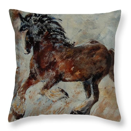 Animal Throw Pillow featuring the painting Horse 561 by Pol Ledent
