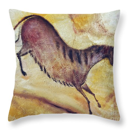 Prehistoric Throw Pillow featuring the painting Horse A La Altamira by Michal Boubin