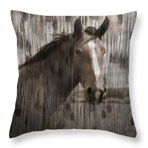 Horse Throw Pillow featuring the photograph Horse At Home On The Range by Karla Beatty