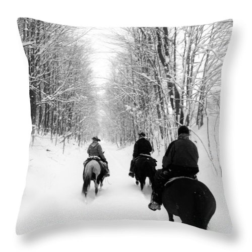 Horses Throw Pillow featuring the photograph Horse Back Riding by Christina McNee-Geiger