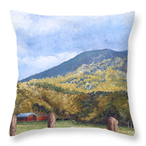 Landscape Throw Pillow featuring the painting Horse Barn At Cades Cove by Todd Blanchard