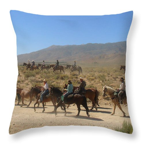 Horses Throw Pillow featuring the photograph Horse Drive From June Lake To Bishop California by Christine Till
