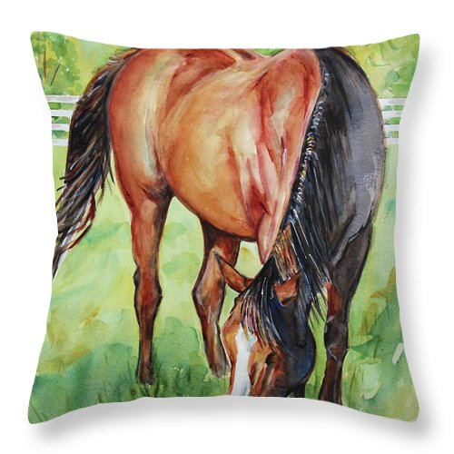 Horse Art Throw Pillow featuring the painting Horse Grazing by Maria Reichert