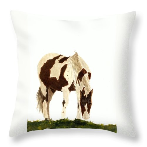 Horse Throw Pillow featuring the painting Horse Grazing by Michael Vigliotti