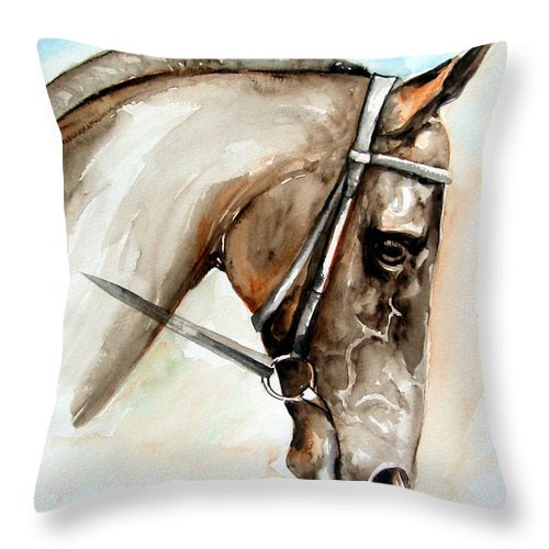 Horse Throw Pillow featuring the painting Horse Head by Leyla Munteanu