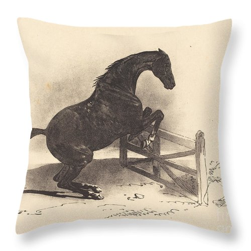 Throw Pillow featuring the drawing Horse Jumping A Barrier by Louis-pierre-marie Courtin After Th?odore Gericault