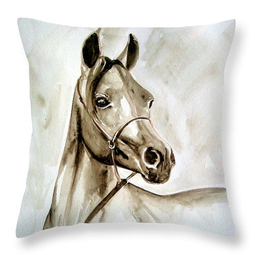 Portrait Of A Horse Throw Pillow featuring the painting Horse by Leyla Munteanu