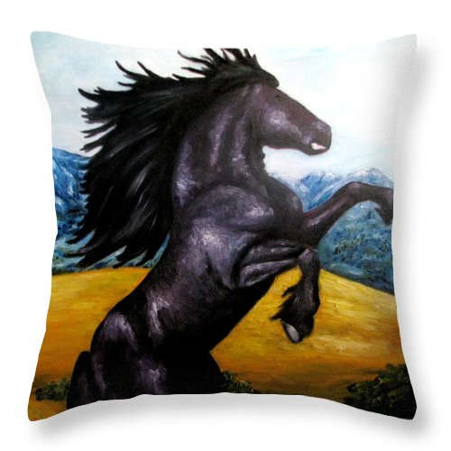 Horse Throw Pillow featuring the painting Horse Oil Painting by Natalja Picugina