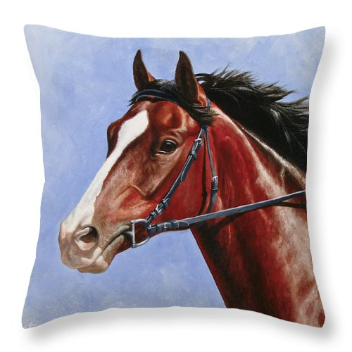 Horse Throw Pillow featuring the painting Horse Painting - Determination by Crista Forest