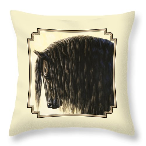 Horse Throw Pillow featuring the painting Horse Painting - Friesland Nobility by Crista Forest