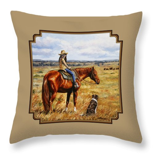 Western Throw Pillow featuring the painting Horse Painting - Waiting For Dad by Crista Forest