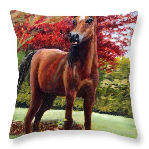Horse Throw Pillow featuring the painting Horse Portrait by Eileen Fong