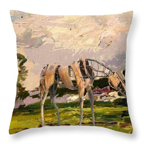 Modern Painting Throw Pillow featuring the mixed media Horse Statue In The Field by Pemaro