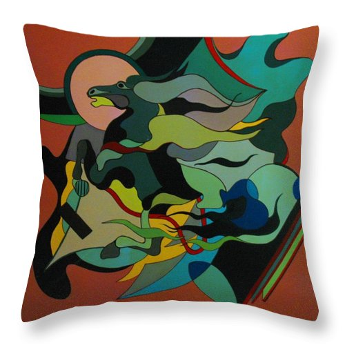 Abstract Throw Pillow featuring the painting Horse by Vasilis Bottas