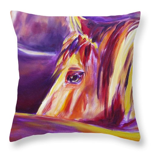 Horses Throw Pillow featuring the painting Horse World Detail by Gina De Gorna