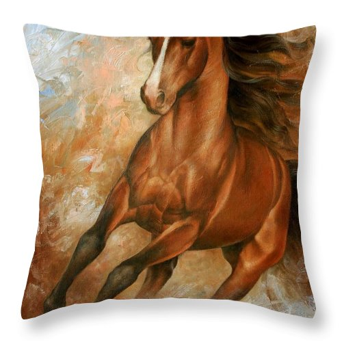 Horse Throw Pillow featuring the painting Horse1 by Arthur Braginsky