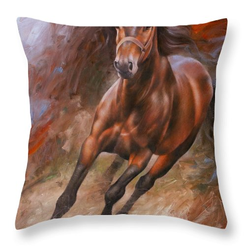 Art Throw Pillow featuring the painting Horse2 by Arthur Braginsky