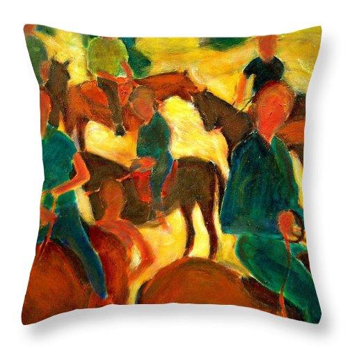Dornberg Throw Pillow featuring the painting Horseback Riders by Bob Dornberg