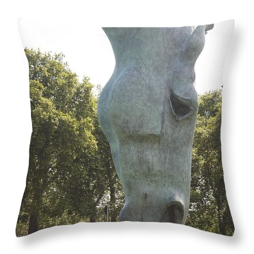 Heads Throw Pillow featuring the photograph Horses Head At Marble Arch London. by Christopher Rowlands
