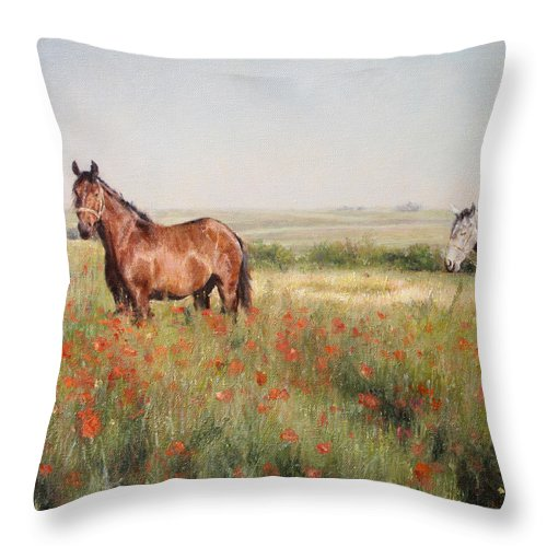 Poppy Throw Pillow featuring the painting Horses in a Poppy field by Darko Topalski