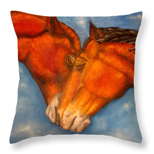 Horses Throw Pillow featuring the painting Horses In Love.oil Painting by Natalja Picugina