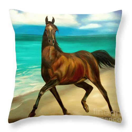 Horse Throw Pillow featuring the painting Horses In Paradise Dance by Gina De Gorna