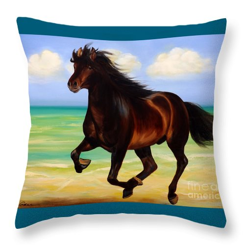 Horses Throw Pillow featuring the painting Horses In Paradise Run by Gina De Gorna
