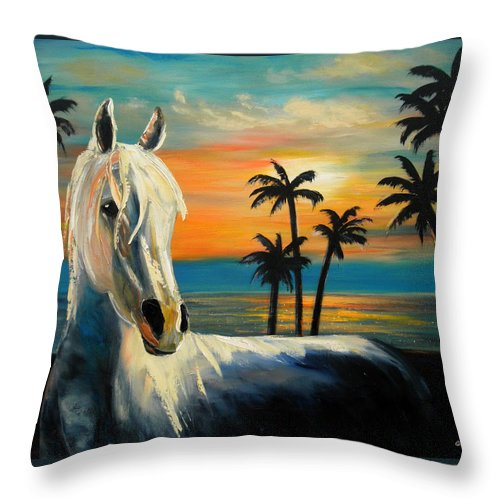 Horse Throw Pillow featuring the painting Horses In Paradise Tell Me Your Dream by Gina De Gorna