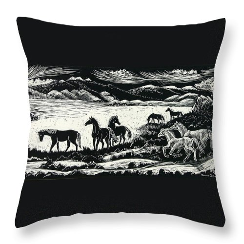 Horses Throw Pillow featuring the drawing Horses In Winter by Dawn Senior-Trask