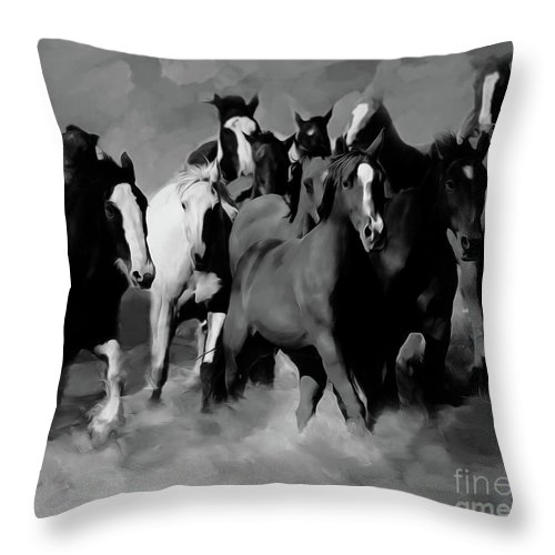 Wild Horse Throw Pillow featuring the painting Horses Stampede 01 by Gull G
