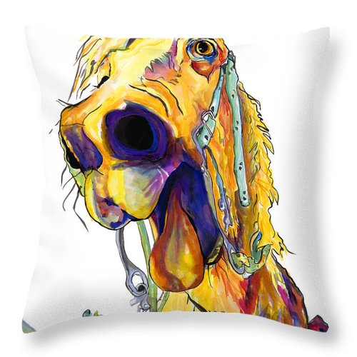 Animal Painting Throw Pillow featuring the painting Horsing Around by Pat Saunders-White