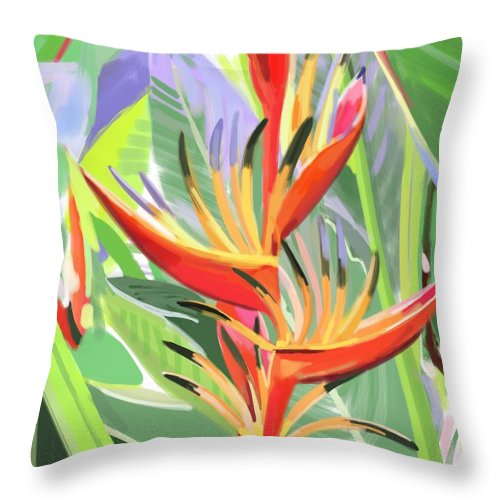 Singapore Throw Pillow featuring the digital art Hort Park Heliconia by Plum Ovelgonne