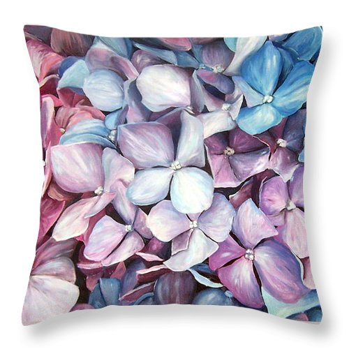 Flowers Nature Blue Violet Macro Throw Pillow featuring the painting Hortensias by Natalia Tejera