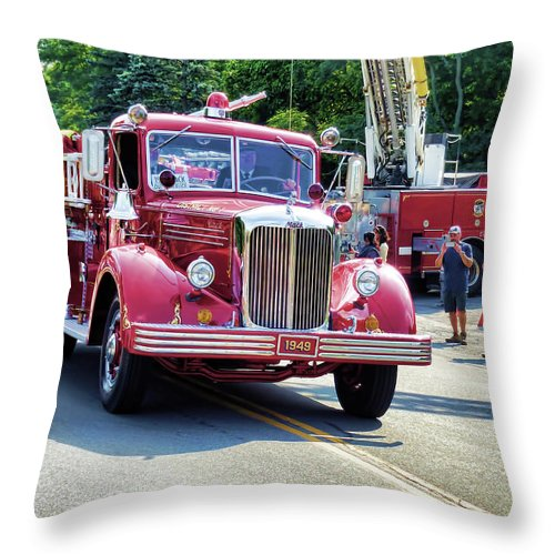 Hose Co. No. 1 Inc Throw Pillow featuring the painting Hose Co. No. 1 Inc 2 by Jeelan Clark
