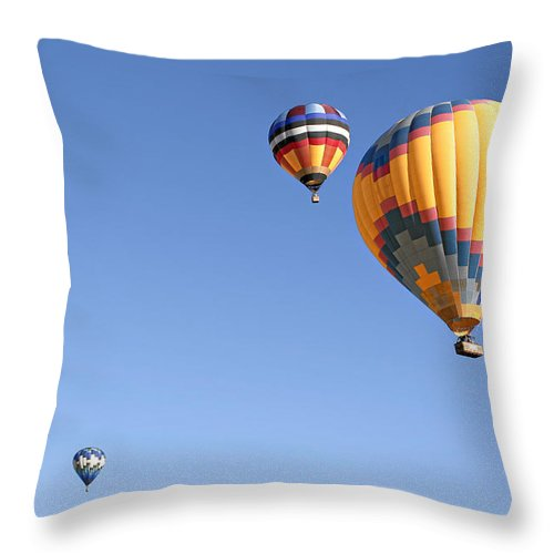 Balloons Throw Pillow featuring the photograph Hot Air Balloon Ride A Special Adventure by Christine Till