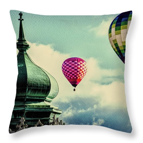 Hot Air Balloon Throw Pillow featuring the photograph Hot Air Balloons Float Over Lewiston Maine by Bob Orsillo
